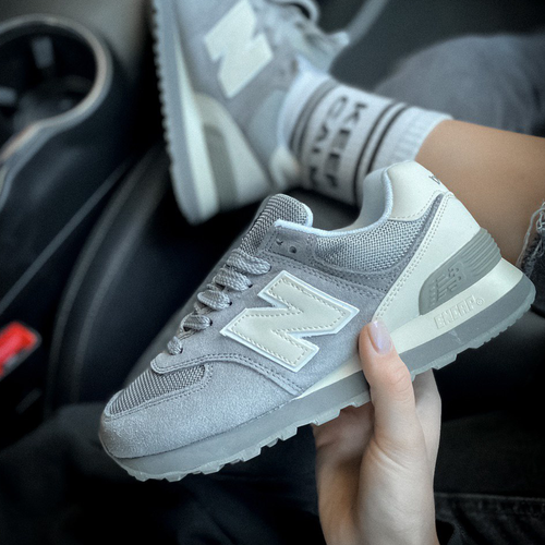New Balance 574 suede textile gray
