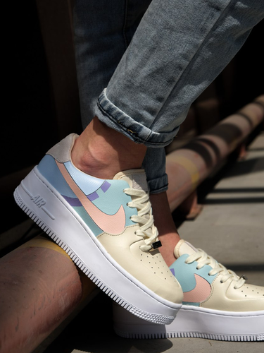 Кроссовки женские Nike Air Force 1 sage low LX beige/pale blue-pink premium