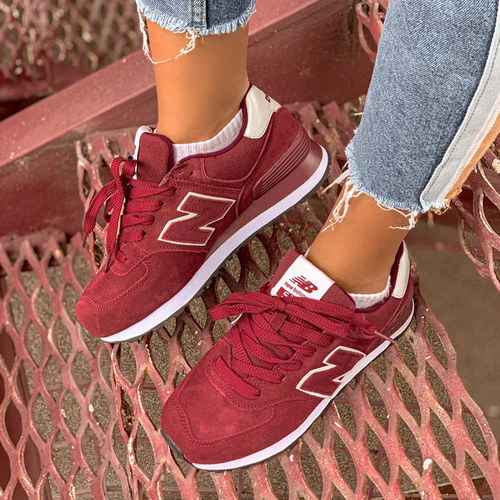 New Balance 574 all suede bordo