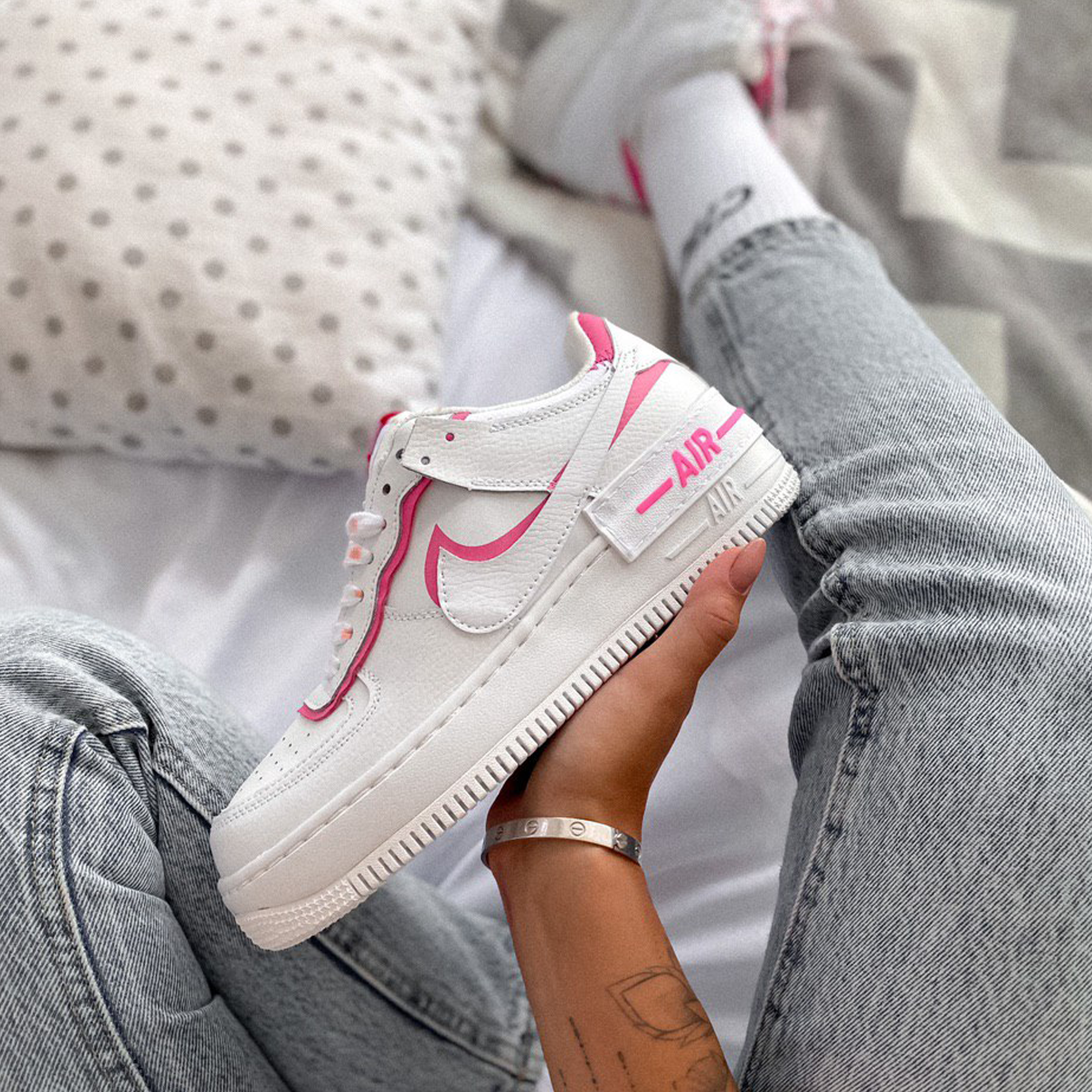 Кроссовки женские Nike Air Force 1 Shadow Gym Red / White Pink
