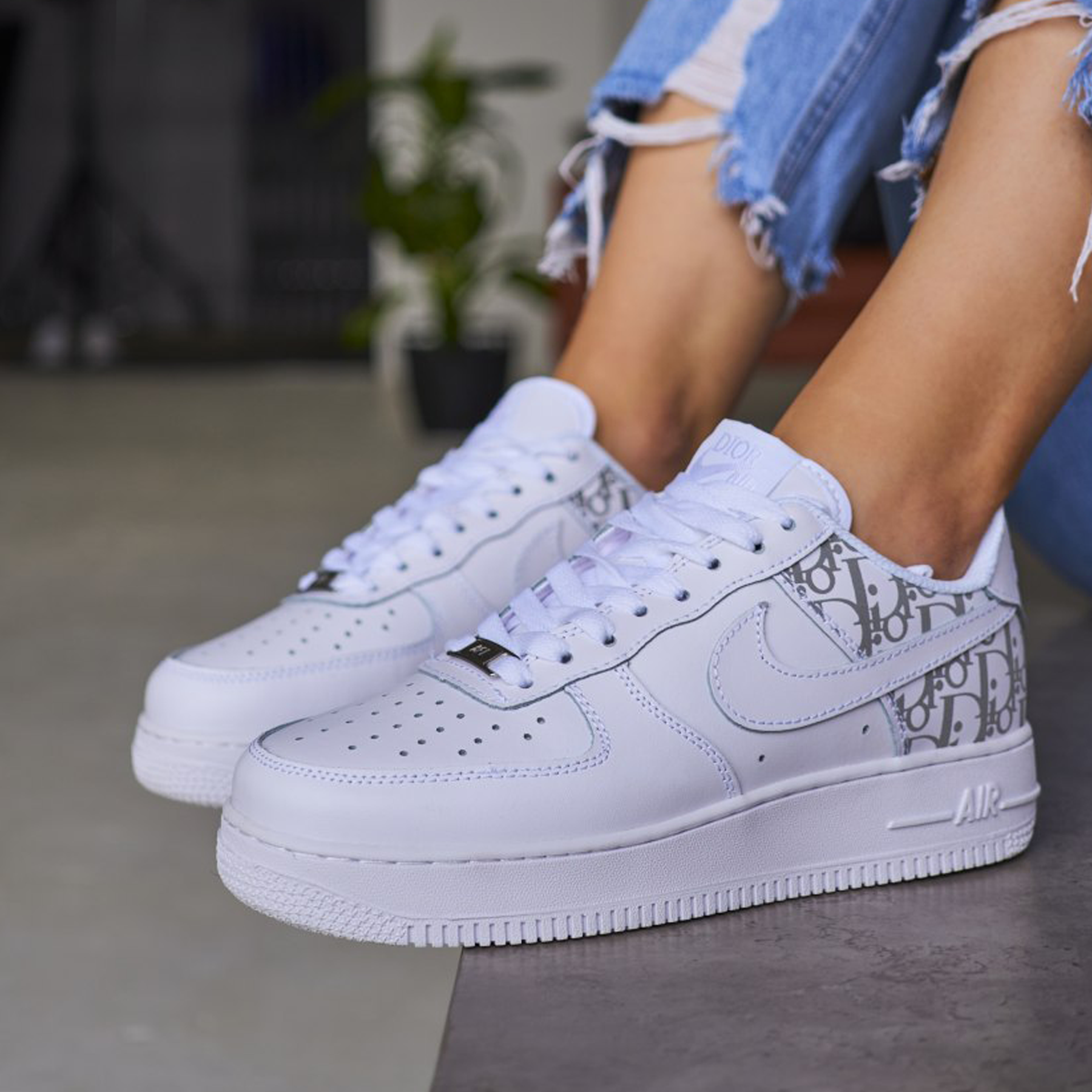 Кроссовки женские Dior x Nike air force 1 low white grey premium
