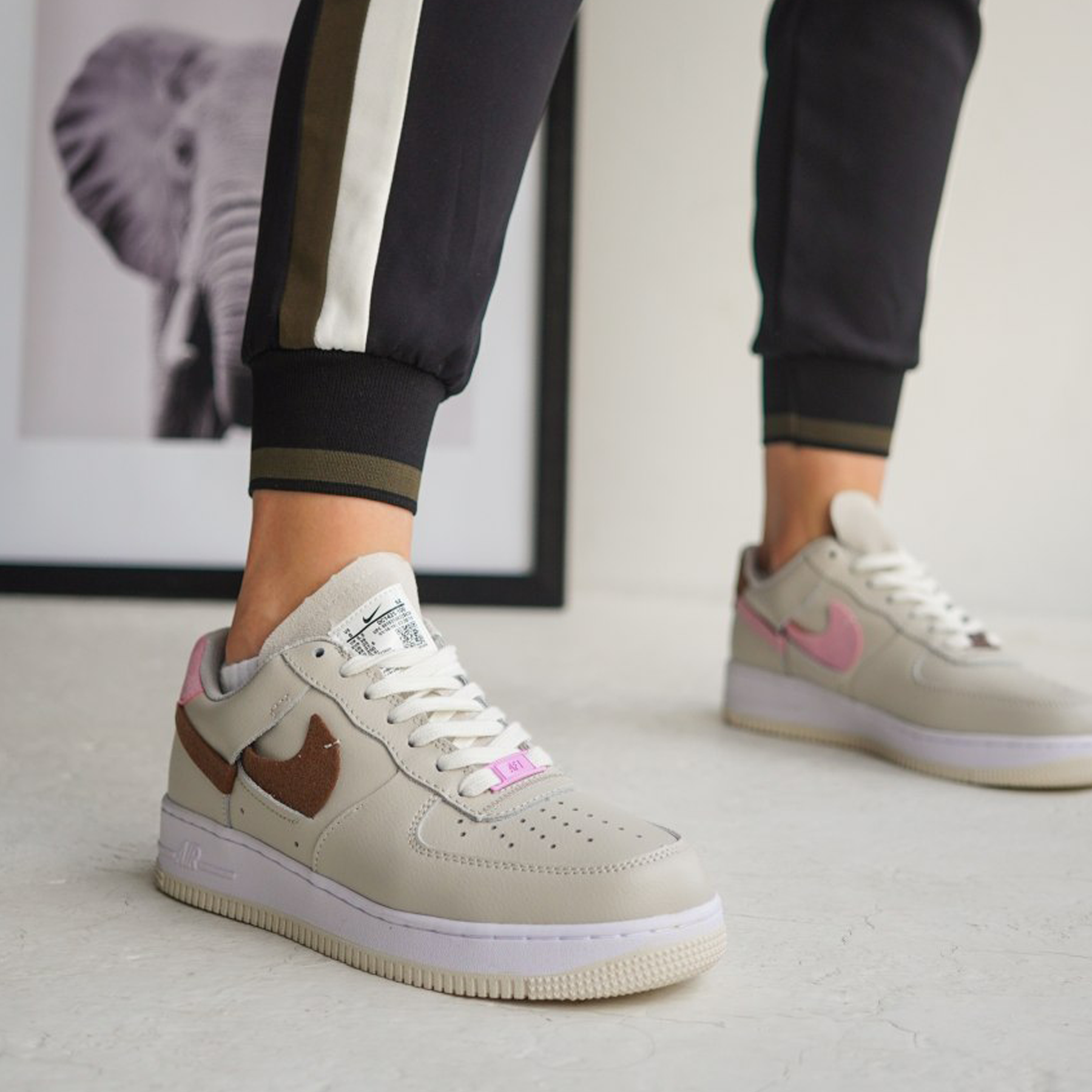 Кроссовки женские Nike air force 1 inside out white red blue premium